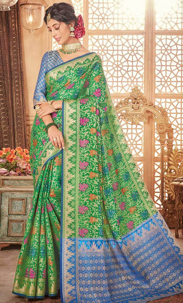Jacquard floral Woven Design Green Saree-Final sale item_As Pictured_Front_View