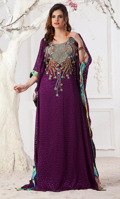 Dark Fuchsia and Pastel color Hand beaded Evening Party Dress kaftan -Final sale