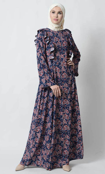 Flared sleeves style printed abaya_As Pictured_Front_View