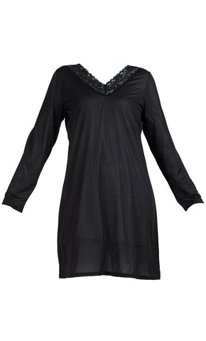 Lace Long Sleeve Polyester Under Dress Slip Top- Long Length - Final Sale_Black_Front_View