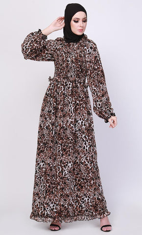 The Brown Leopard Print Abaya