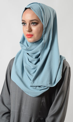 Dusty Blue Moss Crepe Hijab_As Pictured_Front_View