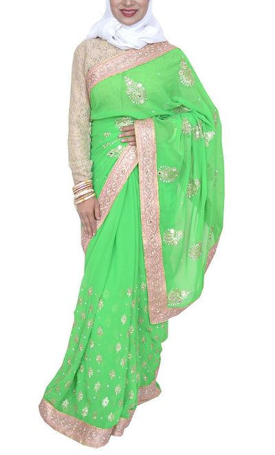 Pakeezah Everyday Summer green Georgette Saree - Final Sale Item_As pictured_Front_View