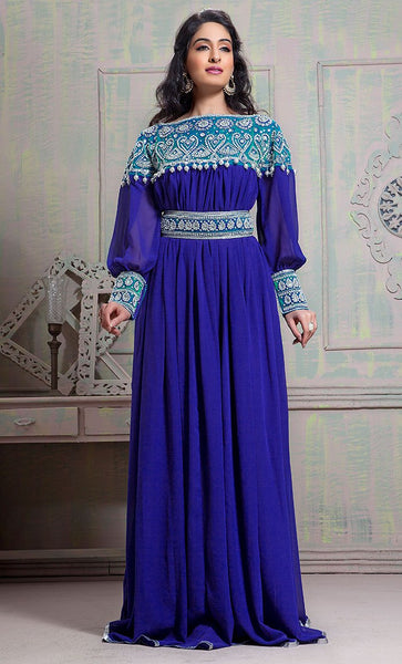Tantalizing Blue Color Maxi Full Sleeve Kaftan Dress-Final Sale_As Pictured_Front_View