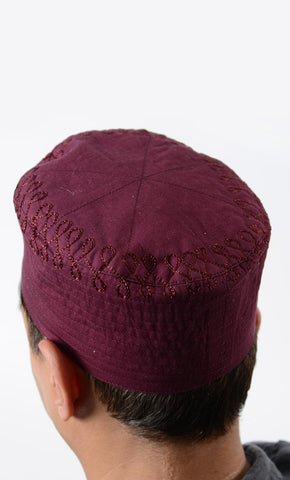 Maroon Embroidered Cotton Kufi_As Pictured_Front_View