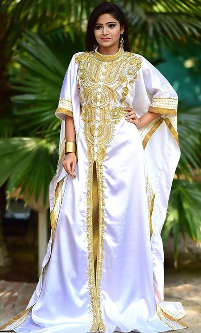 Dazzling White & Gold Color Fashionable Kaftan-One Size-Final Sale_As Pictured_Front_View