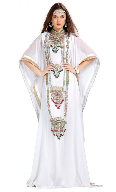 Designer Stylish & Elegant White Embroidered Arabian Kaftan-Final Sale_As Pictured_Front_View