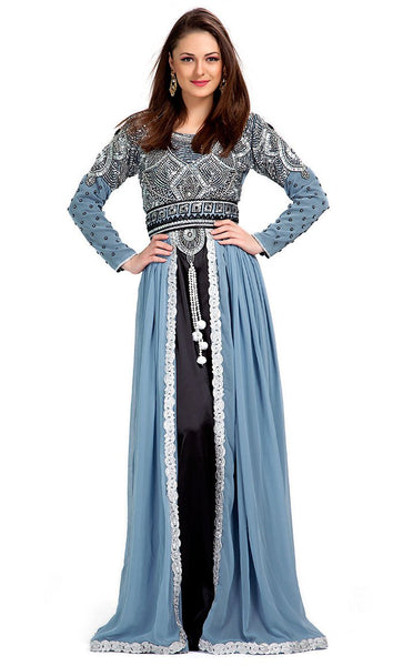 Gray Color Exclusive Kaftans-Chiffon Designer Kaftan-Final Sale_As Pictured_Front_View