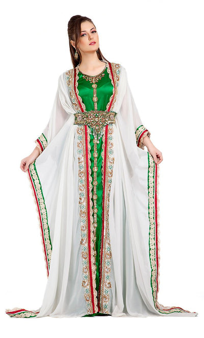 Contemporary Fancy Long Length White Moroccan Takchita Kaftan-Final Sale_As Pictured_Front_View