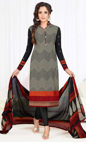 Geometrical design Black Crepe Embroidered salwar kameez-Final sale