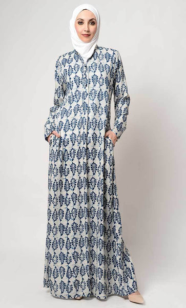 Leaf print collar neck abaya_As pictured_Front_View