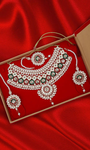 Art Pearl Jarkan & Kundan Necklace Set - Final Sale Item_Front_View