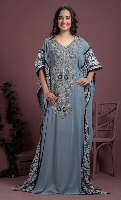 Gray Color Kaftan-Georgette Kaftan-Final Sale_As Pictured_Front_View
