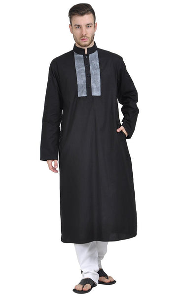 Front Accent Yoke Kurta_Black_Front_View