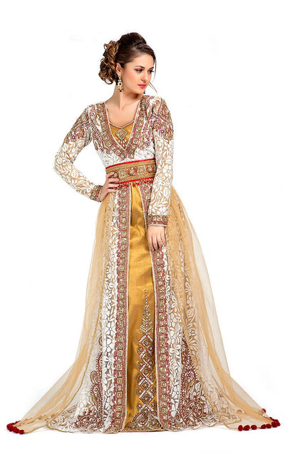 Contemporary Unique Beige Wedding Exclusive Moroccan Kaftan-Final Sale_Front_View