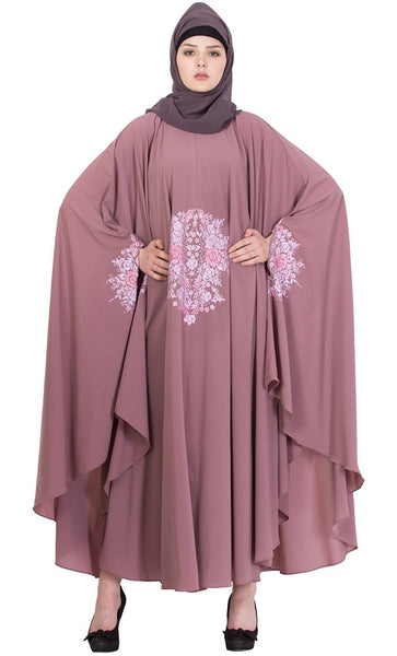 Embroidered Irani Kaftan abaya-PUCE PINK-Final sale