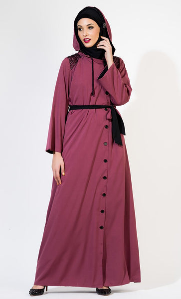 Front Open Hooded Sequin Abaya_Magenta_Front_View