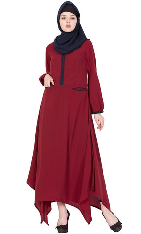 Asymmetrical long Maroon abaya dress-Final sale