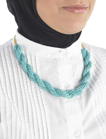 Turquoise braid necklace_Front_View