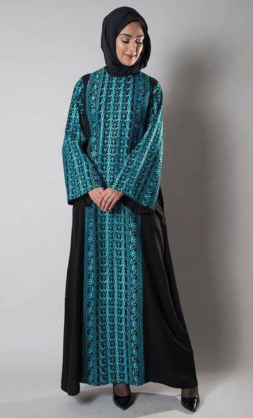 Sea Blue Jordanian Palestinian Embroidered Dress+hijab_Black_Front_View