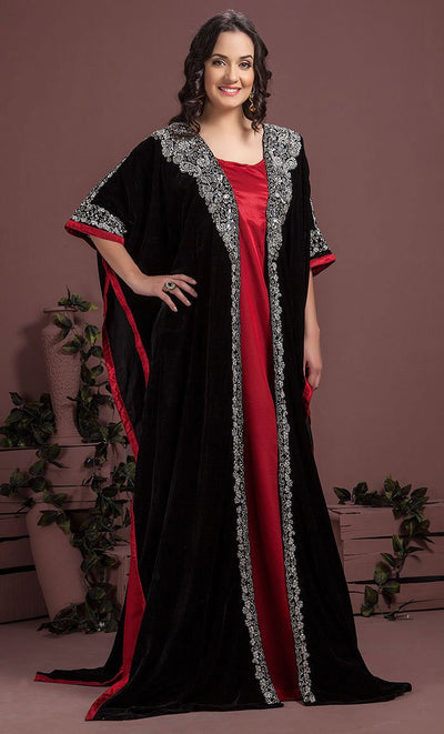 Black & Maroon Color Kaftan-Velvet Kaftan-Final Sale_As Pictured_Front_View