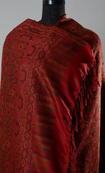 Red Filled Style Pashmina Shawl- Final Sale Item_As Pictured_Front_View