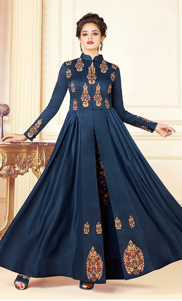 Elegant thread embroidered Gown-Final sale_As Pictured_Front_View