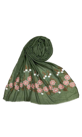 Green floral embroidered hijab-final sale