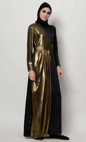 Foil gold stretch drape abaya_Black_Front_View