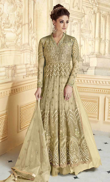 Designer Floral Jardoshi Work With Multiple Jari Gown-Final sale item_As Pictured_Front_View