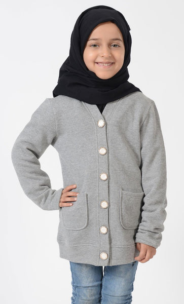 Girls Grey Button Accent Cardigan_Grey_Front_View