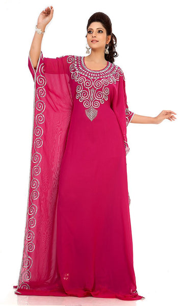 Supercool Pink Color Designer Arabic Caftan Dress-Final Sale_Front_View
