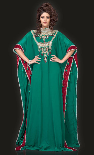 Graceful Bottle Green Color Designer Arabic Kaftan Dress-Final Sale_As Pictured_Front_View