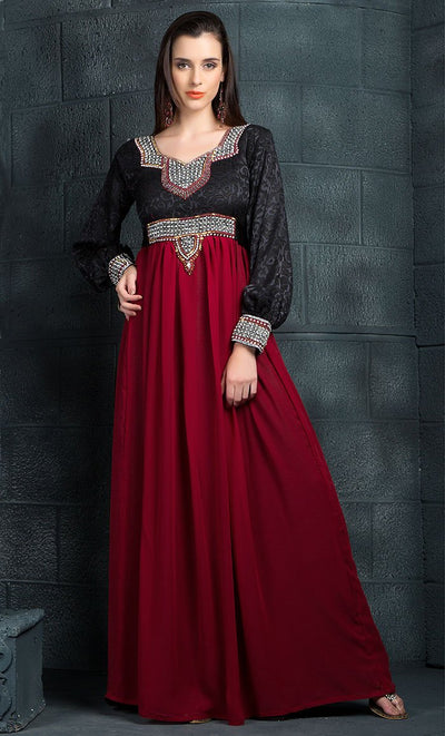 Red & Black Color Kaftan-Georgette Kaftan-Final Sale_As Pictured_Front_View