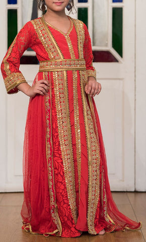 Red Moroccan Style Dress With Gold Handwork Kaftan-Final Sale_Front_View