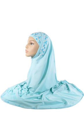 Aqua Marine Embroidered 2 Piece Al- Amirah Hijab_As Pictured_Front_View