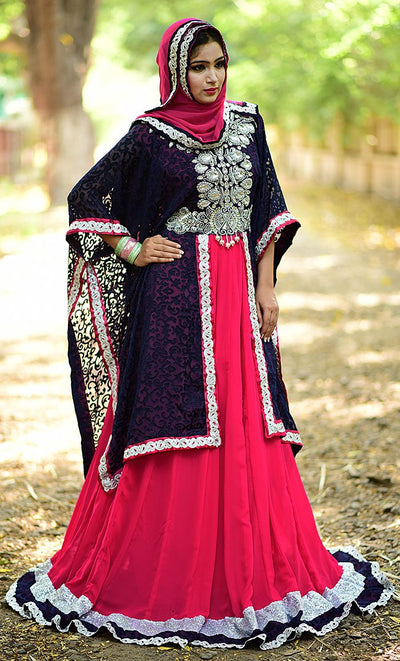 Vivacious Pink & Blue Georgette Kaftan Dress- Exclusive Fancy Dubai Caftan-Final Sale_As Pictured_Front_View