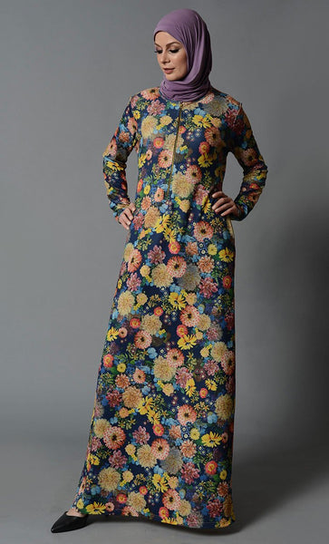Flower Garden Print Lycra Abaya_As Pictured_Front_View