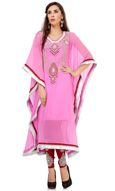 Rich Baby Pink Salwar Kameez Style Kaftan-Final Sale_As Pictured_Front_View