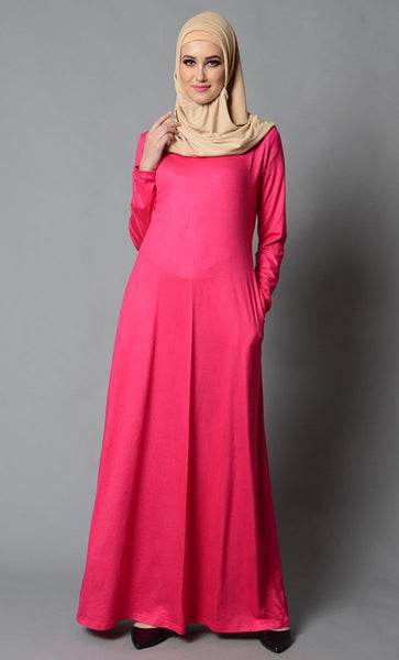Everyday Basic Pink Lycra Abaya-Final Sale_Fuchsia Pink_Front_View