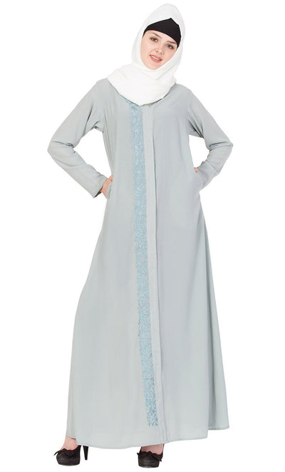 A Line Embroidered Nida Abaya-Final sale