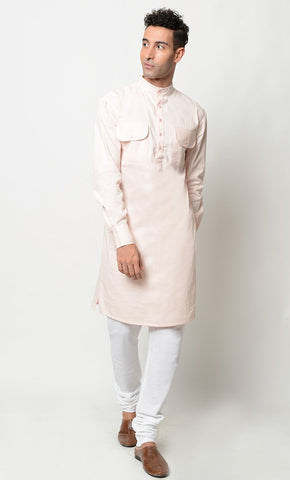 Basic Cotton everyday Tunic and pant set_Baby Pink_Front_View