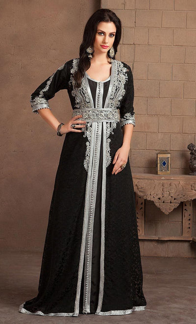 Takchita Black Color Designer Handmade Arabic Moroccan Style Caftan-Final Sale_As Pictured_Front_View