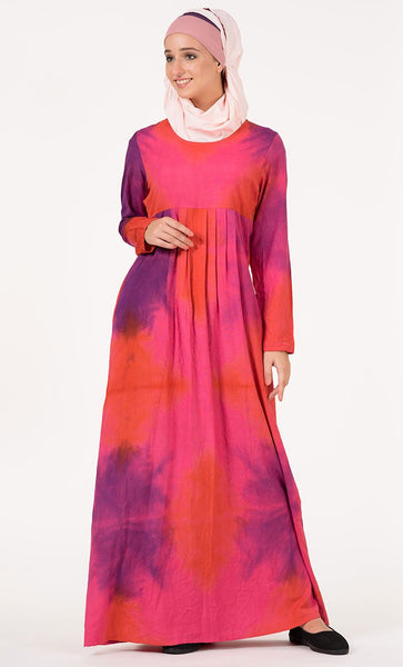 Pink Orange & Purple Pleated Tie Dye Abaya_As Pictured_Front_View