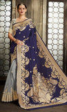 Navy Blue & Grey Traditional Allover Jacquard Weaving Design Saree - Final Sale Item_Front_View