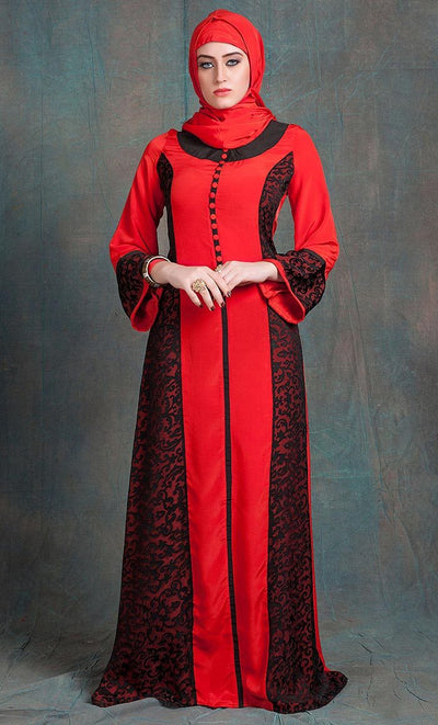 Evening Dress Black and Red Color Arabic dubai party Abaya Dress-Final Sale_As Pictured_Front_View