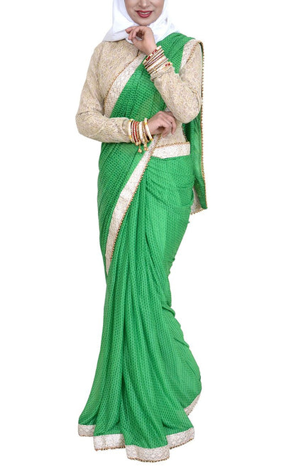 Pakeezah Everyday Green Georgette Saree - Final Sale Item_As pictured_Front_View