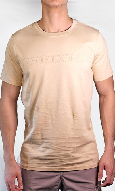 Men's Beige Tee - Name Logo - Final Sale Item_As Pictured_Front_View