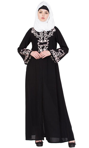 Chikan art embroidery Nida abaya-Final sale