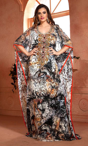 Multi Color Hand beaded Kaftan Arabic Evening Dress-Final sale